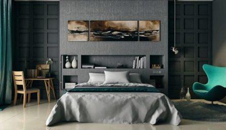 dormitor in tonuri gri