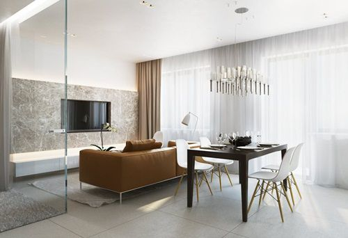 Proiect apartament cu o camera de 38 de metri patrati cu dormitor de sticla