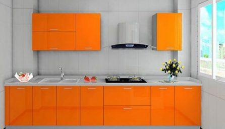 Modele bucatarii moderne in nuante de portocaliu