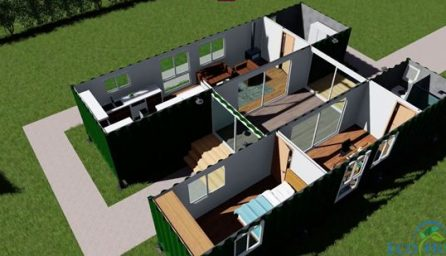 Proiect casa containere cu living, dormitor, baie si bucatarie