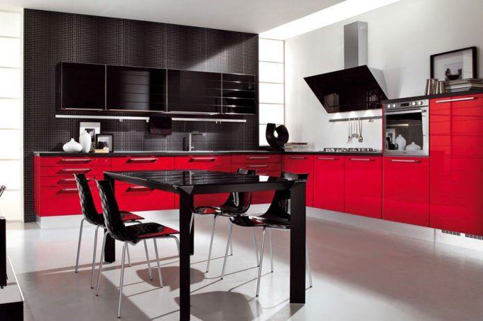 Tipuri de bucatarii spectaculoase in negru si rosu