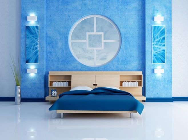 Dormitoare moderne cu interior albastru